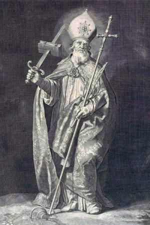 Grabado del Santo, obra de Cornelis Bloemaert (1630).