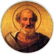 Medallón de San Julio I, papa. Galería de Papas en la Basílica de San Pablo Extramuros, Roma (Italia).