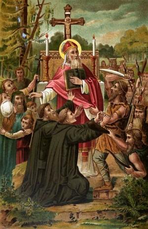 Martirio del Santo. Estampa devocional alemana.