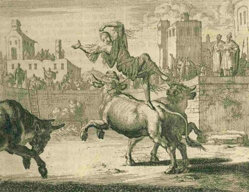 Blandina destrozada por los toros en la arena. Grabado de Jan Van Luyken.