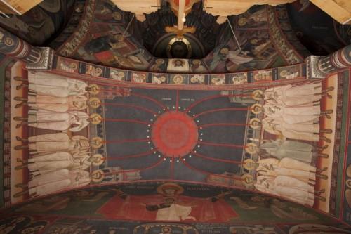 Fresco de Pentecostés, en la bóveda que recubre el altar. Catedral ortodoxa rumana de Nuremberg, Alemania.