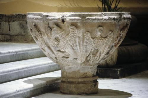 Pila bautismal de la iglesia de Santa María de Tolosa (España), donde fue bautizado el Siervo de Dios.