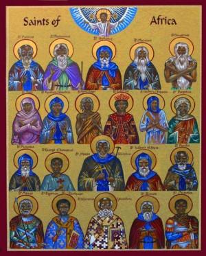 Icono ortodoxo contemporáneo que representa a algunos Santos africanos, erróneamente, como personas de raza negra.
