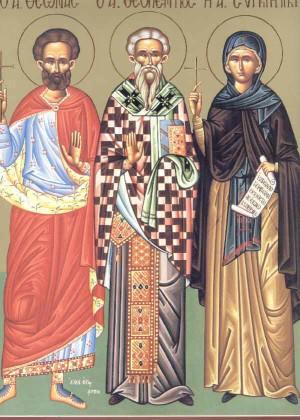 Sinaxis de los santos Teonas obispo, Teopentos y Apolinaria, celebrados el 5 de enero.
