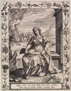 Grabado de la Santa, obra de Adriaen Collaert.