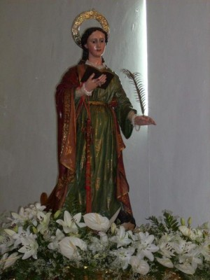 Imagen de Santa Amalia, hermana de Santa Rufina (?) venerada en Santa Amalia, Badajoz (España).