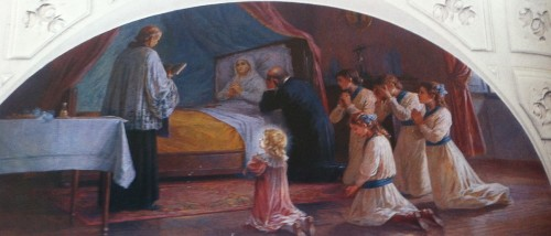 Muerte de la Beata en presencia de su marido e hijas.