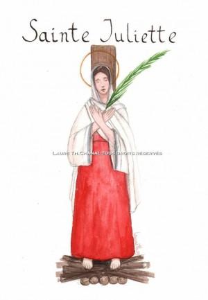 Acuarela de la Santa en la pira, obra de Laure Th. Chanal (2009). Fuente: http://lauredessinemoi.canalblog.com/