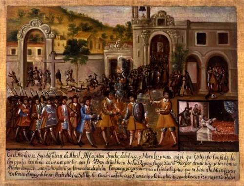 Exvoto a Padre Jesús de las Tres Caídas y a Sn. Antonio. Sacristía del Templo del Barrio de Jesús Tlatempa, San Pedro Cholula, Puebla (México).
