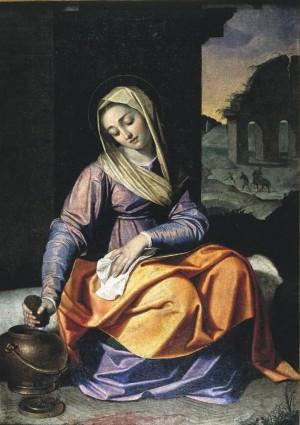 Santa Praxedis recogiendo la sangre de los mártires. Lienzo de Scipione Pulzone.