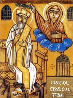 Icono copto del Santo, coronado por la Virgen María.