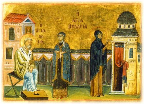 San Nonno convierte a Santa Pelagia. Iluminación del Menologio de Basilio II. Biblioteca Apostólica Vaticana, Roma (Italia).