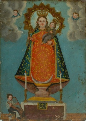 Óleo de hechura popular que representa a la Virgen de los Remedios, óleo/lámina, anónimo mexicano, siglo XIX.