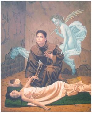El Beato Bartolomé Díaz atendiendo a una cristiana enferma. Óleo contemporáneo.