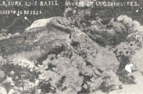 Fotografía del cadáver de San Luis Bátiz en su velatorio.