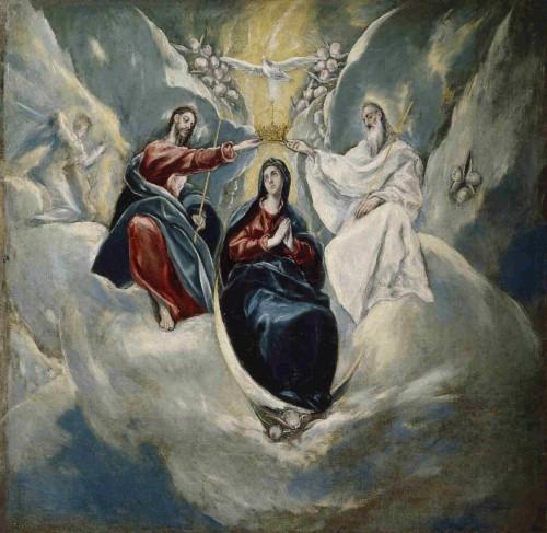 """Coronación de la Virgen, obra de Domenikos Theotokopoulos """"El Greco"""" (1592). Museo Nacional del Prado, Madrid (España)."""