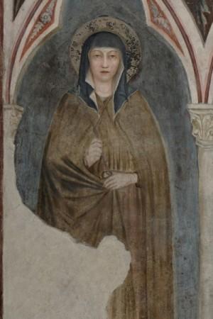 Fresco de la Santa en la Basílica de Santa Clara en Asís, Italia.