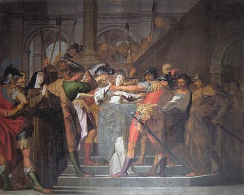 """""""El milagro de Santa Inés"""", lienzo barroco en Évora (Portugal)."""