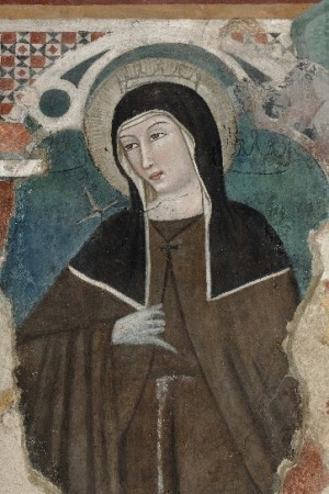 Fresco de la Santa con las 3 coronas de la visión.