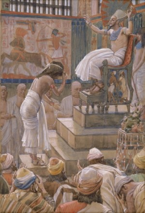 José y sus hermanos son bienvenidos en la corte del faraón. Lienzo de James Tissot, 1900.