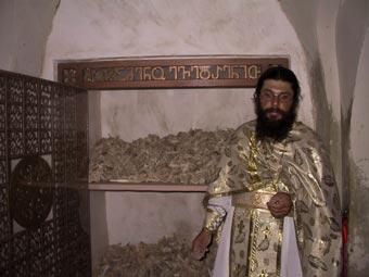 Reliquias de los mártires. Monasterio de San David de Garedja, Georgia.