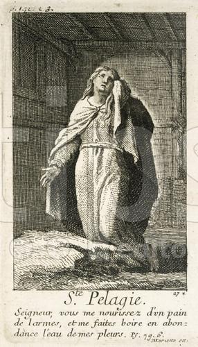 """""""Pelagia la penitente"""", la Santa llorando sus pecados. Grabado barroco francés."""