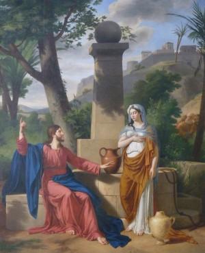 Jesús y la samaritana en el pozo de Jacob. Lienzo decimonónico en la catedral de Rouen (Francia).