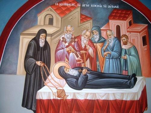Entierro del Santo. Fresco ortodoxo griego en su iglesia de Kastoria (Grecia).