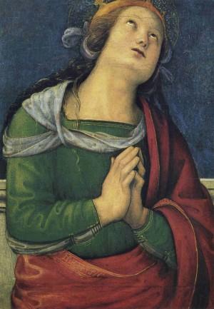 """Santa Flavia, tabla de Pietro Vanucci """"il Perugino"""". Museos Vaticanos, Roma (Italia)."""