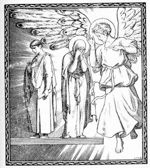 """Visión de la Santa. Ilustración de JMB para """"El Santo de Cada Día"""", editado por Edelvives (1960)."""