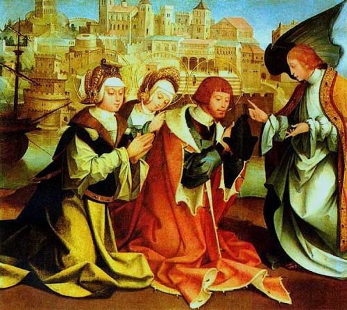 Los Santos reciben profecía de su martirio a través de un ángel. Tabla de Fernández García (1530), Museo Carlos Machado, Ponta Delgada, Azores (Portugal).