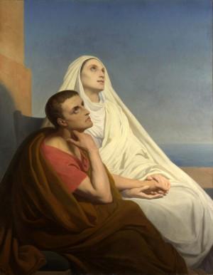 """""""Santa Mónica y San Agustín en el puerto de Ostia"""", lienzo de Ary Scheffer."""