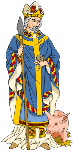 Ilustración contemporánea de San Cadoc, abad de LLandcarfan.