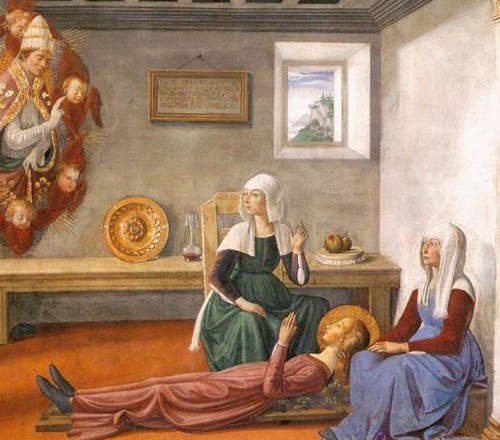 Anuncio de la muerte a Santa Fina. Fresco de Domenico Ghirlandaio, Capilla de la Santa en la colegiata San Gimignano, Italia.