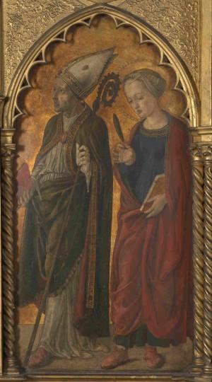 Santos Donato y Antilia de Arezzo. Tabla renacentista de Jacopo di Antonio. National Gallery de Londres, Reino Unido.