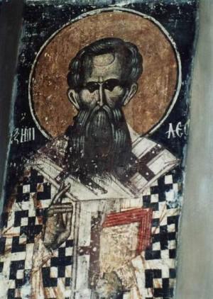Fresco del Santo en su monasterio de Krusedol, Serbia.