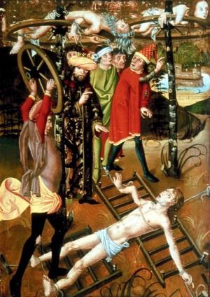 Los Santos torturados con ruedas. Tabla del Maestro del Martirio de los Apóstoles (1485-95). Museo Keresztény, Esztergom (Hungría).