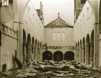 Abadía de Tokwon destruida.