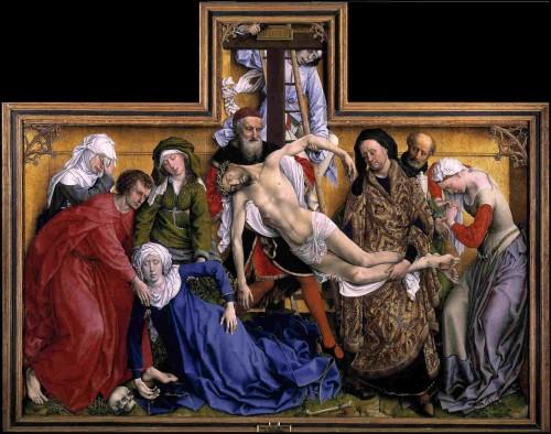 """""""Descendimiento de Cristo"""", de Roger Van Der Weyden. Museo Nacional del Prado, Madrid (España). Obsérvese cómo se representa a  la Virgen desmayada."""