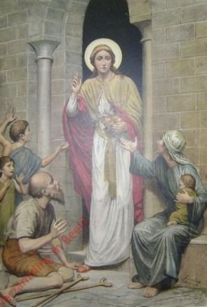 Santa Cunera repartiendo alimentos entre los necesitados. Grabado coloreado alemán del s.XIX.