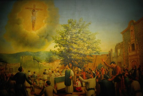 Pintura en la parroquia de Ocotlán reproduciendo la aparición.