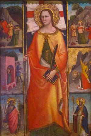 La Santa circundada por escenas de su martirio. Tabla de Lorenzo di Niccolò (ca. 1400). Museo de la catedral de Florencia, Italia.