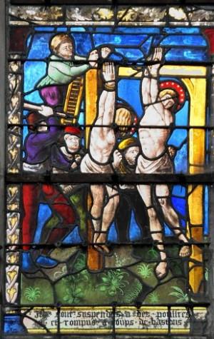 Martirio de los Santos. Vidriera del siglo XV, iglesia de San Esteban de Arcis, Francia.