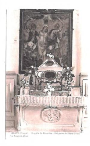 Lienzo con la flagelación de la Santa y la urna de sus reliquias. Iglesia de la Santa en Grand, Francia.