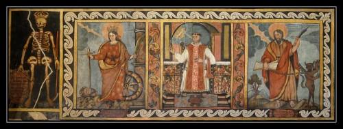 Detalle de la Muerte y los Santos Catalina de Alejandría, Cirilo y Bartolomé. Fotografía: Andrés Campillo Castejón.