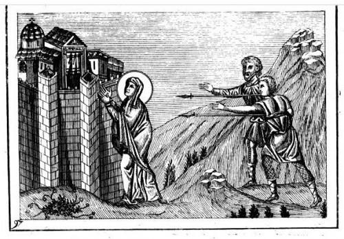 La Santa se escabulle de sus agresores. Grabado a partir del Menologio de Basilio II.