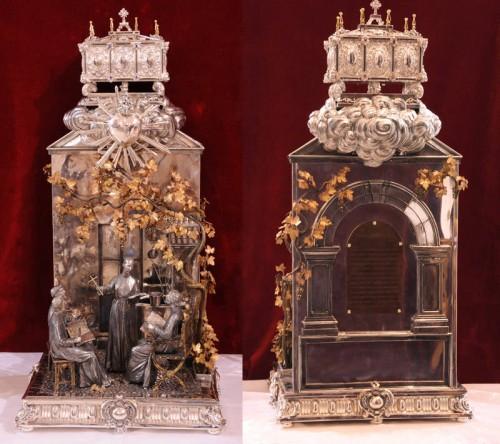 Relicario con el corazón y otras reliquias del Santo en Montilla (España).