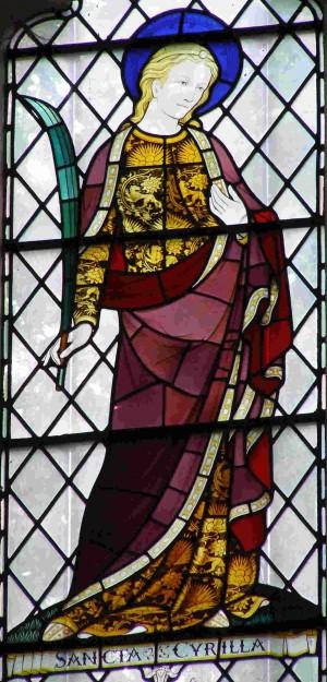 Vidriera de Santa Cirila, mártir romana.