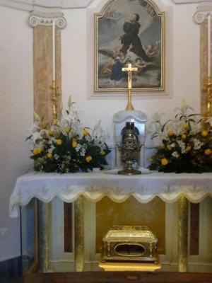 Reliquias en la capilla del Santo en Roma, Italia.