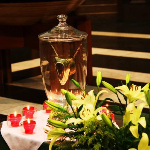 Reliquia del corazón del Santo. Iglesia de los jesuitas de Lovaina (Bélgica).